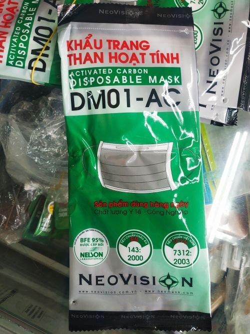 Khẩu Trang Than Hoạt Tính NEOVISION DM01-AC - ACTIVATED CARBON DISPOSABLE MASK